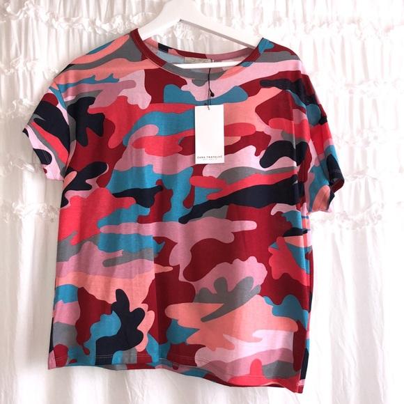 1df1688e856c Zara Multi-Color Camouflage Tee - Bape Inspired